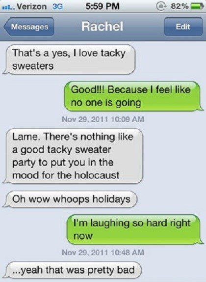 Love Tacky Sweaters - Funny SMS Fail