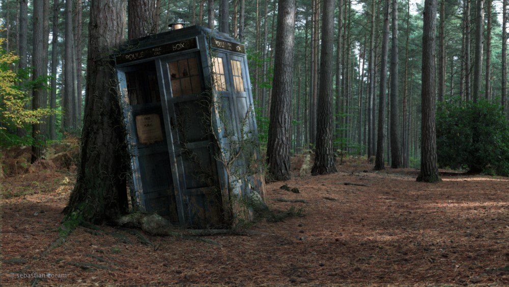 Tardis In The Forest Wallpaper
