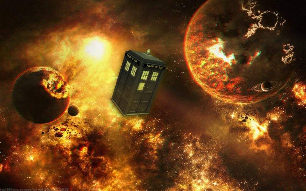 Tardis Between Two Worlds - doctor who wallpaper background - in space - fire planets