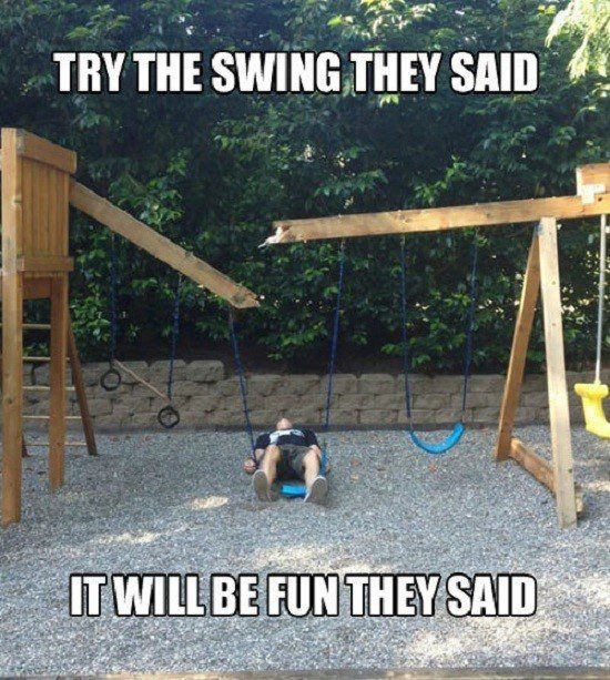 Try The Swing They Said - Funny Caption Photo