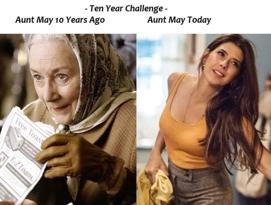 Aunt May 10 Year Challenge